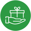 hand with gift in it in green circle
