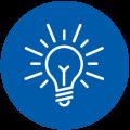 light bulb in blue circle